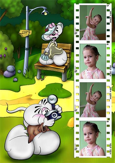 Диддлы фотографируются, онлайн детские рамки на 4 фото