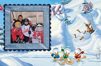 Утята играют в хоккей, онлайн зимние рамки мальчикам с ...
